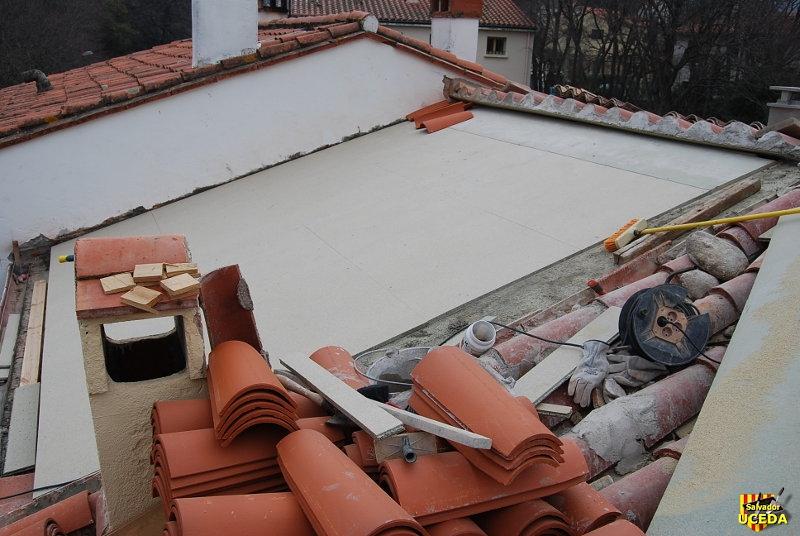 Sorède toiture Foun del Sabate nouvelle charpente bardeau par Salvador Uceda