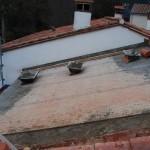 Sorède toiture Foun del Sabate nouvelle charpente pose ciment sur armature métal par Salvador Uceda