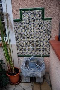 fontaine et auge en pierre à l'arrosoir